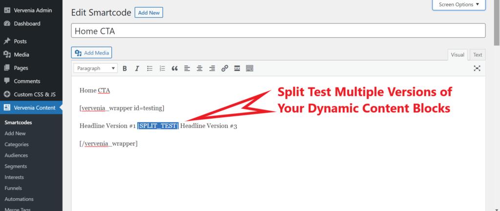 WordPress Content Block Split Testing