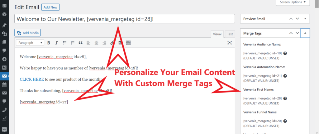 WordPress Email Marketing Plugin With Custom Merge Tags