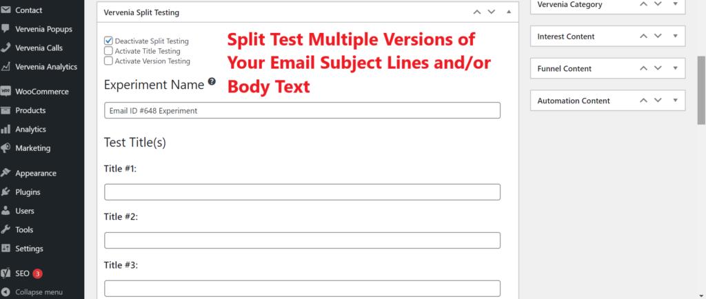 WordPress Email Split Testing Plugin