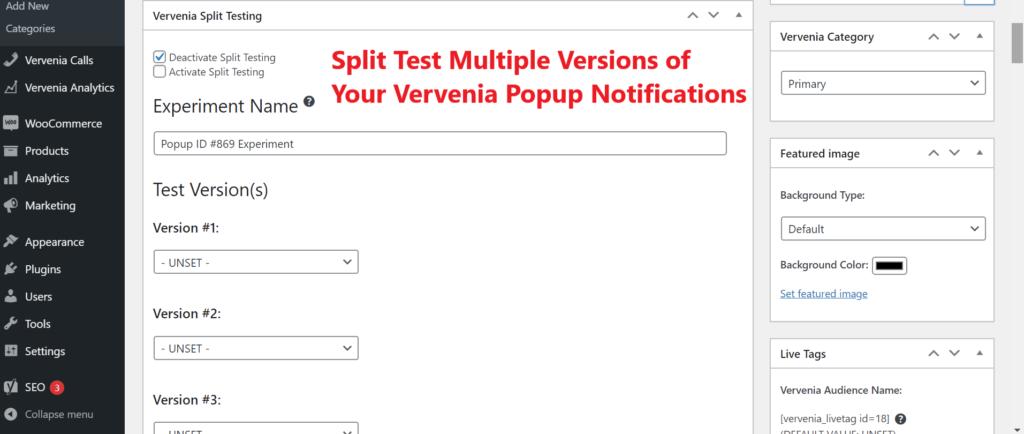 WordPress Popup Notification and Split Testing Plugin